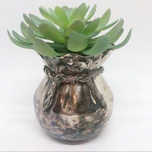 Vintage silver tone metal bowl/planter